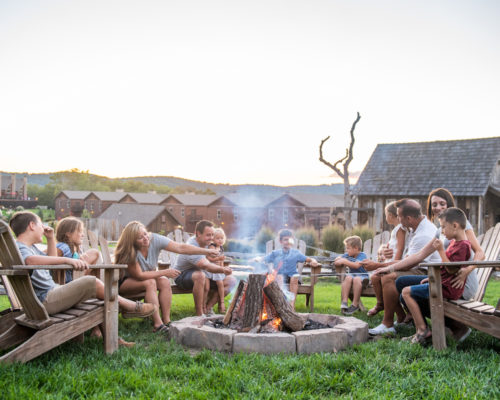 Firepits with family surrounding
